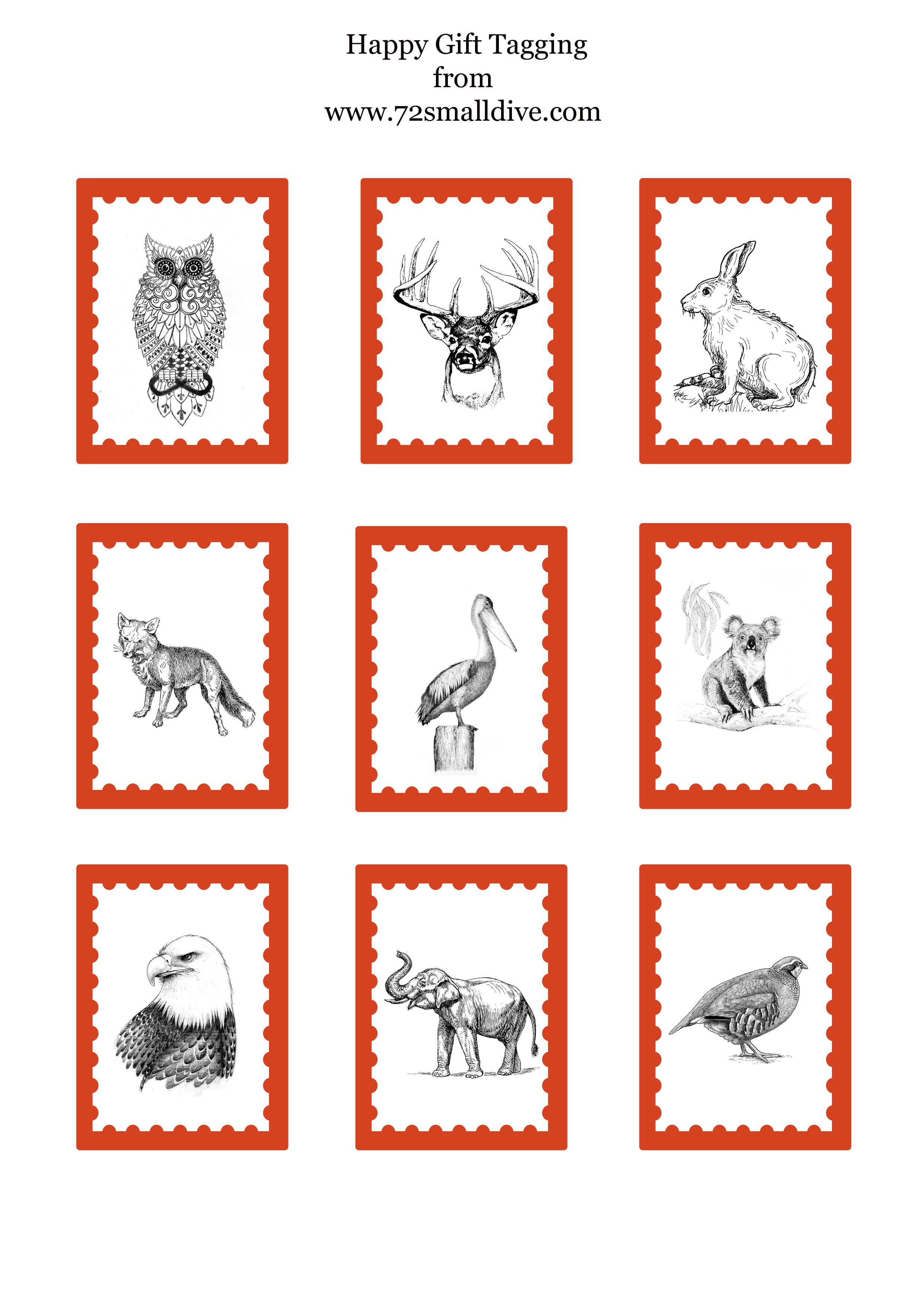 72 Smalldive Animal Gift Tags