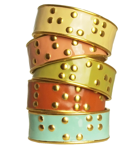 72Smalldive Gold Plated Enameled Brass Cuffs