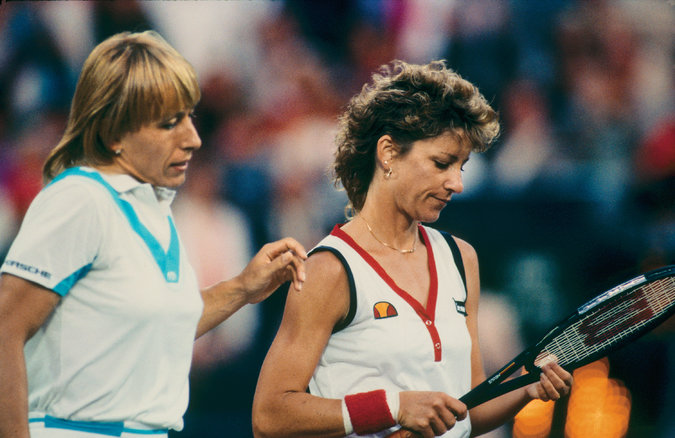 Navratilova (the victor) and Evert after the match. Credit Walter Iooss Jr.