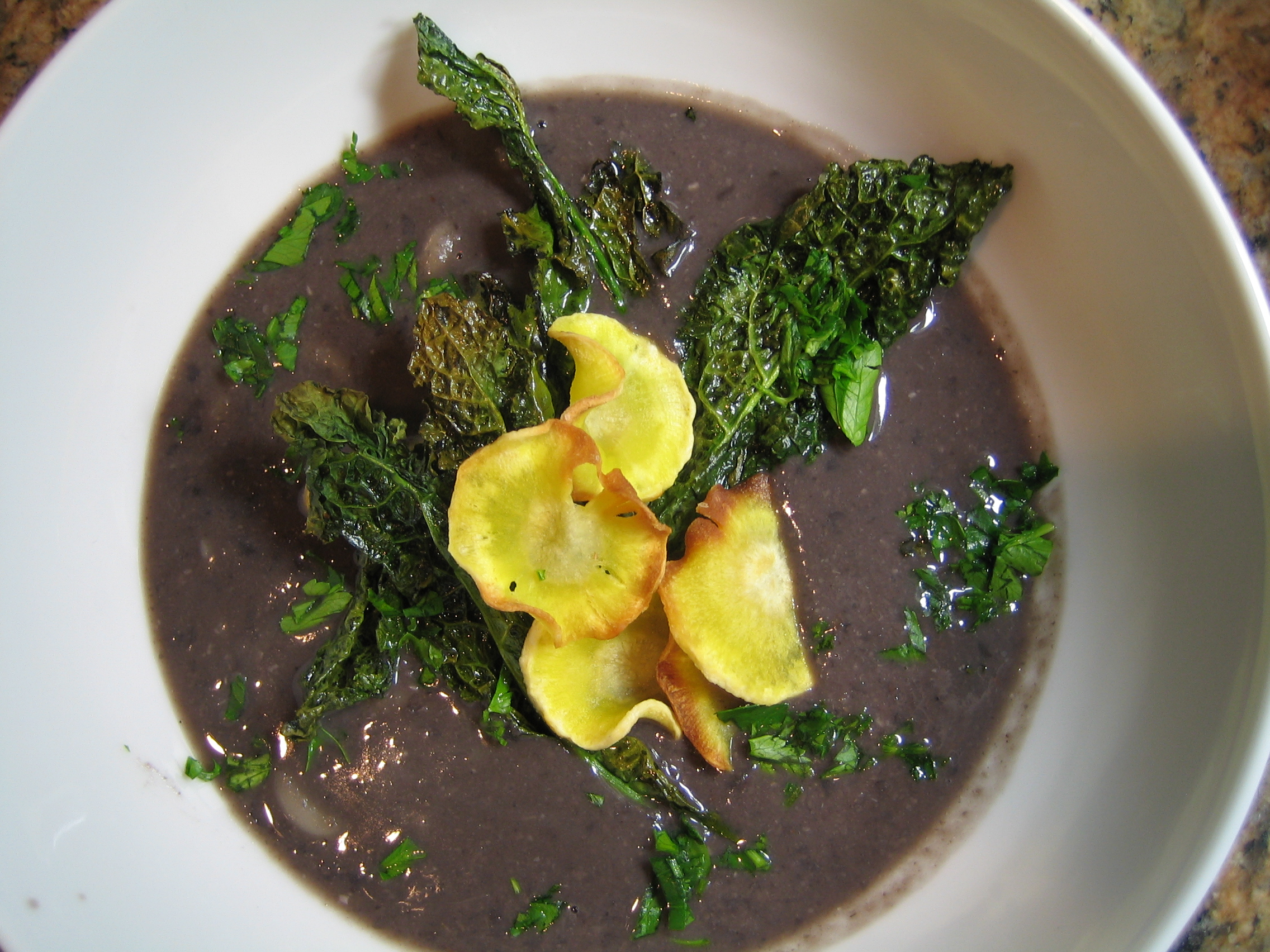 black-bean-soup-with-parsnip-and-kale-chips